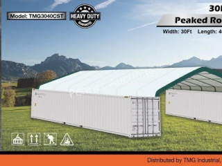 30Ft x 40Ft Peak Ceiling Container Shelter
