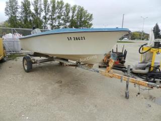 Fiberglass Boat & Trailer w/ 60 HP Outboard