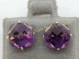 14K  Amethyst Stud(3.25ct) Earrings