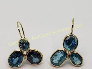 10K  Rare Natural Blue Zircon(10.6ct) Earrings