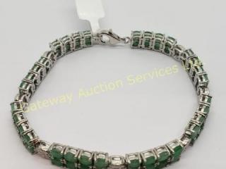 Silver Emerald(9.1ct) Bracelet