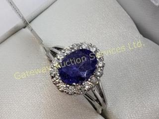14K  Tanzanite 16 Surround Diamond Ring
