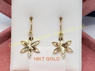 18K  Gold Diamond Cut (1G) Earrings