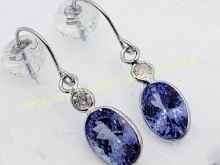 14K  Tanzanite Diamond Dangle Earrings