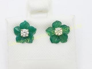 14K  Diamond Green Agate Flower Jacket Earrings