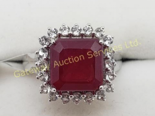 Silver Ruby White Topaz Ring
