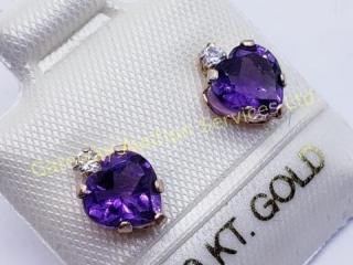 14K  Amethyst CZ Earrings
