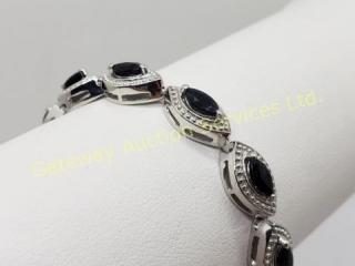 Silver Sapphire (Marquise Cut) 7.5 Inch Bracelet