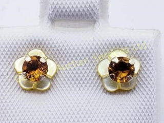 10K  Citrine Stud Mother Of Pearl Earrings