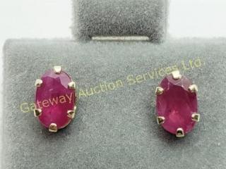 10K  Natural Burmese Ruby(1.2ct) Earrings