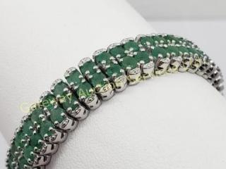 Silver Emerald(7.4ct) 7.5 Inch Bracelet