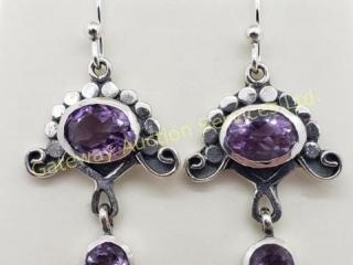 Silver Amethyst Dangle Earrings