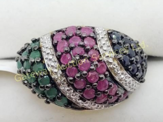 Sapphire, Ruby, Emerald(1.1ct) Ring