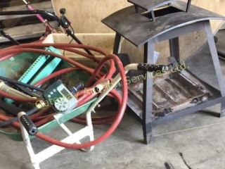 Fire Pit, Wheel Barrel, Fertilizer Spreader,