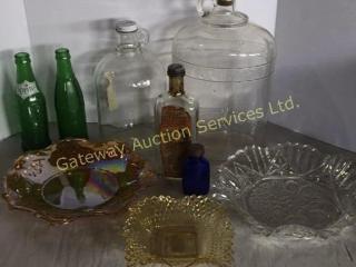 Vintage Bottles and Serving Dishes