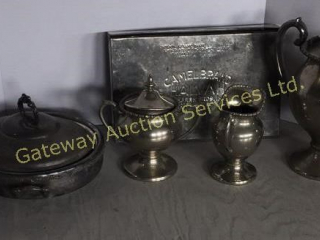 Vintage Silver on Copper Dishes and Old Tin