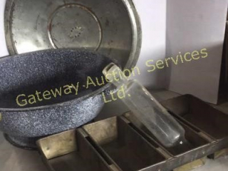 Vintage Bread Rising Pan, Glass Rolling Pin,