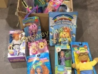 Box of Assorted Toys and Dolls