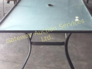 Glass Top Patio Table with 4 Chairs, 2 Swivel....