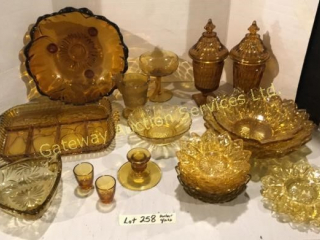 Amber Glass - Bowl, Pickle Dish, Fruit Nappies,