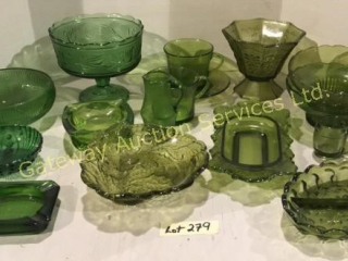 Green Glass - Comports, Sm Bowls, & Dishes, Cups