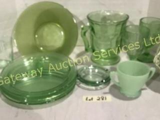 Green Glass - Plates, Jug, Goblets, Bowl, Basket,