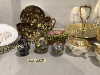 Gold Color BonBon Dishes, Cream & Sugar, Trinkets,
