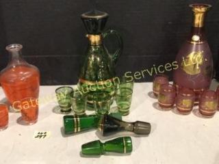 3 Decanter Sets Green, Rose, Orange