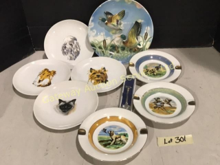 8 Collectible Plates Dogs, Cat, Ducks, Pheasants