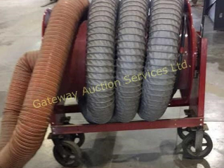 Exhaust Hose on Reel Cart with Wheels