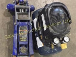2 Ton Floor Jack and Mastercraft Air Compressor...