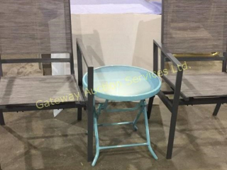 2 Lawn Chairs that Rock and Small Bistro Table