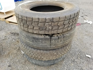 4 Semi Tires (Mismatched Size/Tread) UNRESERVED