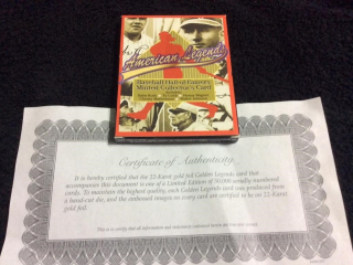 Legends of Baseball Card with Certificate