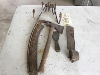 Five rustic tools