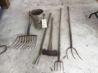 5 vintage tools and bucket