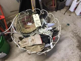 Basket of gloves etc.