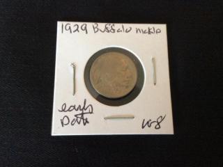 1929 early scarce date buffalo nickel