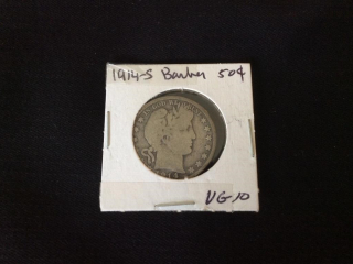 1914s  solid silver barber 50 Cent  Vg