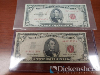 (2) Red $5.00 Bills, 1953B and 1963
