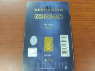 Goldgram .5g Gold Bar as photographed