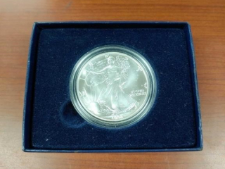 1990 Silver Eagle in box as photographed