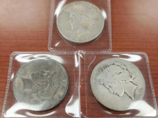 (2) 1922 and (1) 1923 Peace Dollar