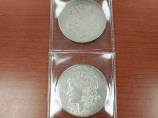 (2) 1921 Morgan $1 Coins as photographed