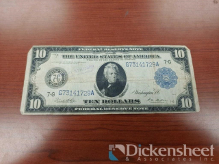 1914 Federal Reserve Note $10 Bill