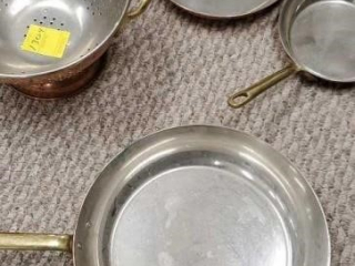 Copper pans and strainer