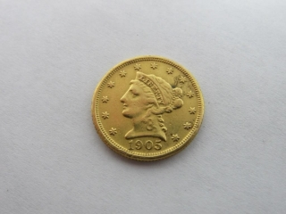 1905 Indian Head $2.50 Gold Quarter Eagle Coin-