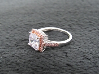 Cushion Cut Diamond CZ & Pink Topaz Designer Ring-