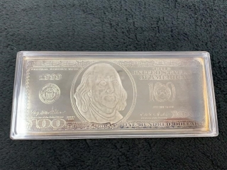 4 Troy Oz Proof Silver .999 $100 Bar-