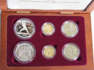 1992 US XXV Olympic 6 Coin Gold and Silver Set-